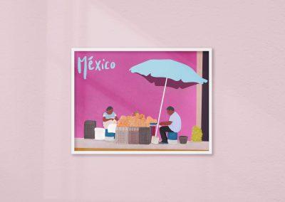 illustration marché Mexique