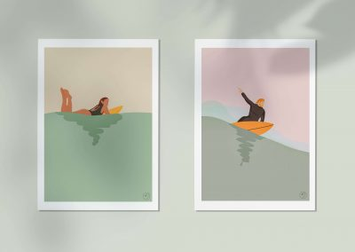 Illustration surfeurs